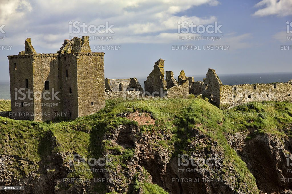 Dunnottar Castle and Surrounding Landscape stock photo