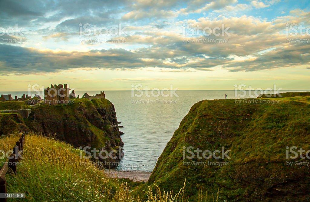 Dunnottar Castle im Abendlicht stock photo