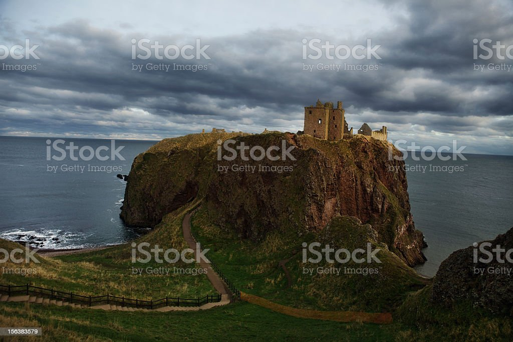 Dunnottar Castle in a Storm stock photo
