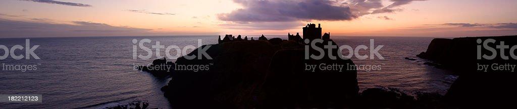 Dunnottar Castle Sunrise Panorama. stock photo