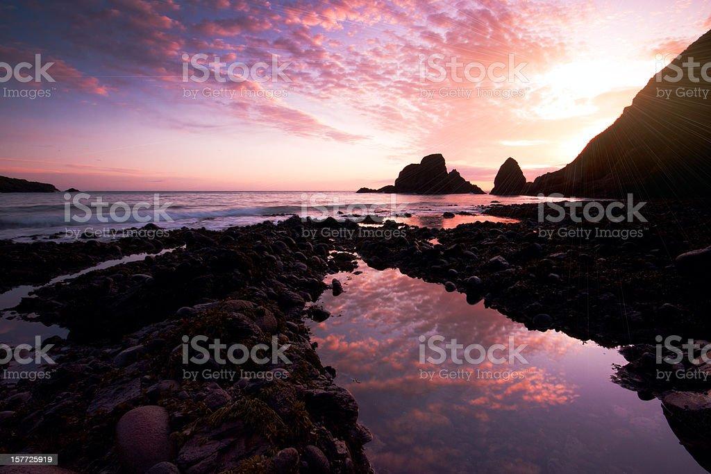 Dunnottar sunrise. stock photo