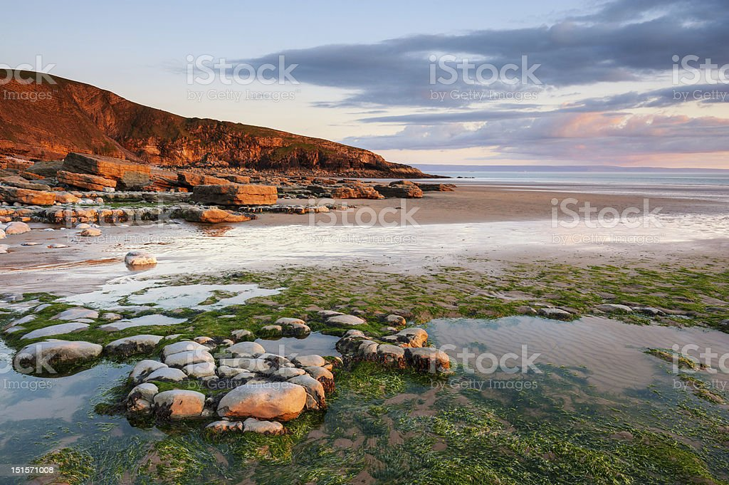 Dunraven Bay Sunset, Wales royalty-free stock photo