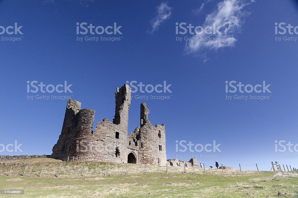 Dunstanburgh castle Northumberland England stock photo