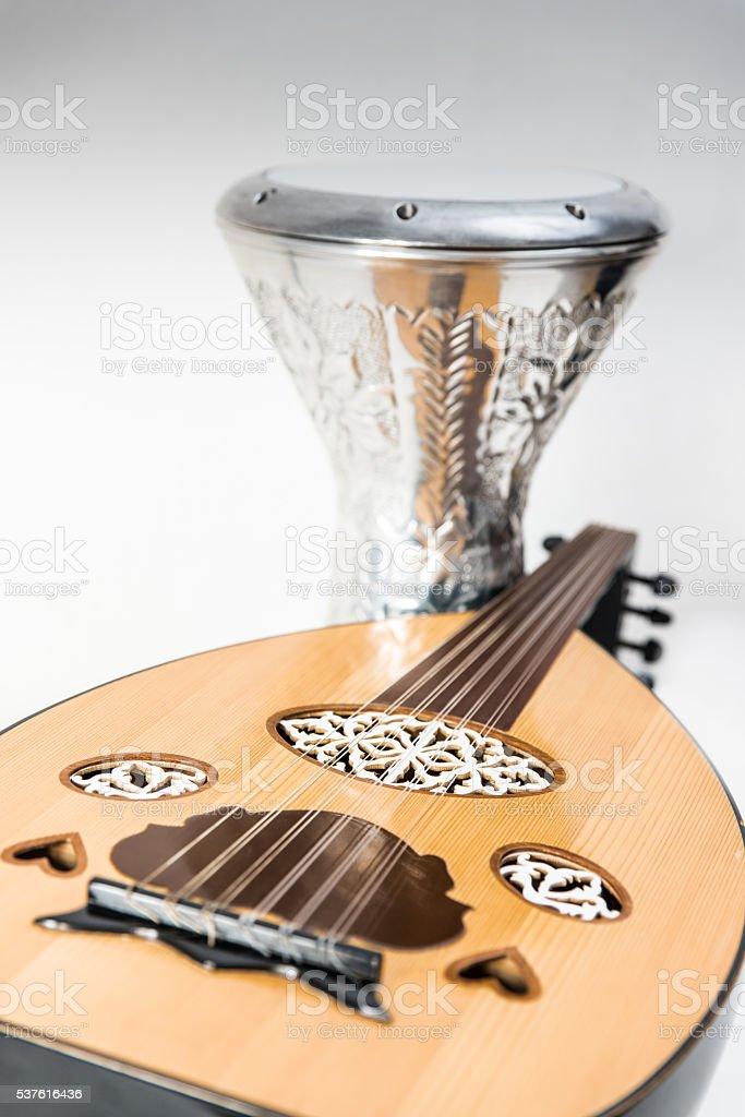 duo darbuka y oud musica. stock photo