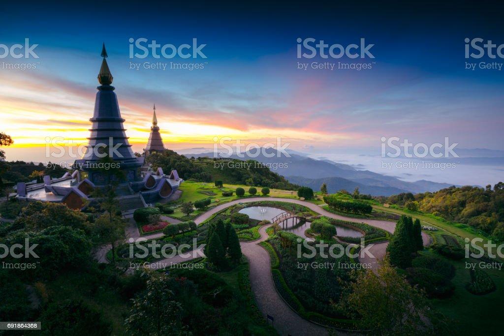 Duo pagoda stock photo