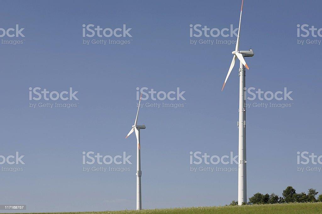 Duo Wind Mills Blue Sky stock photo