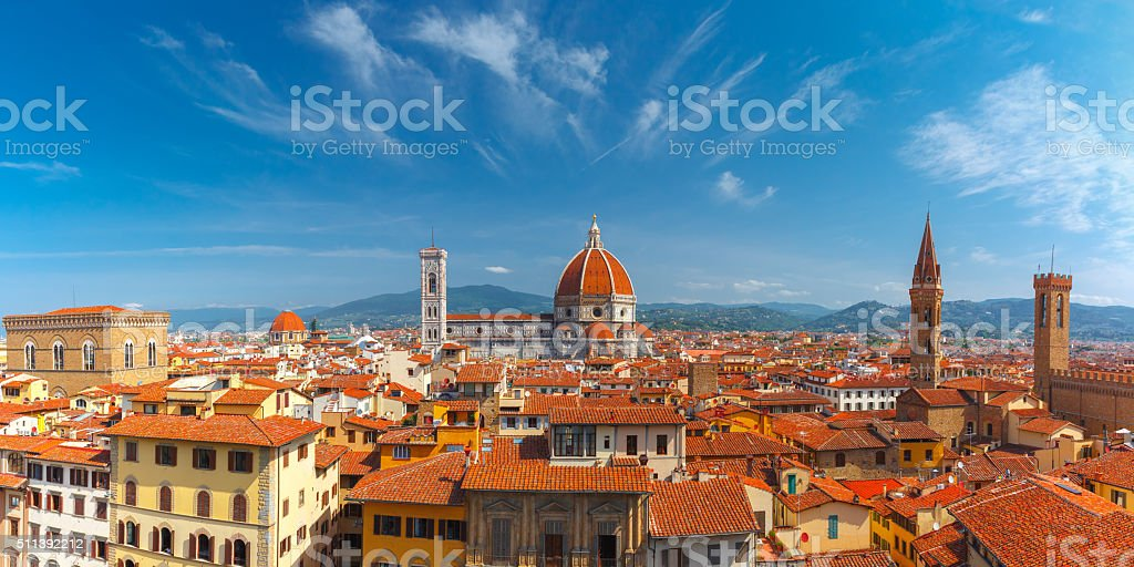 Duomo and Bargello in Florence, Italy stock photo
