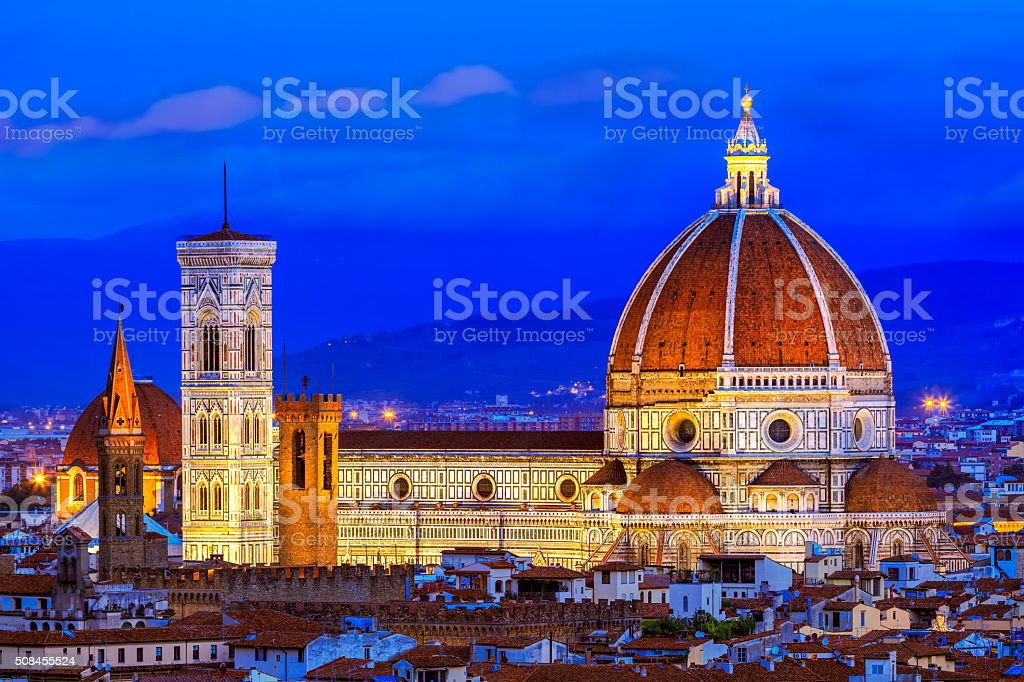 Duomo and Giotto's Campanile at night Florence, Italy stock photo