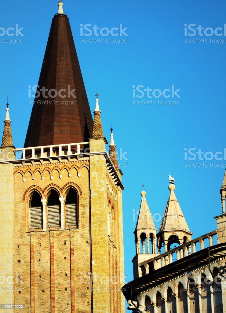 Duomo Cathedral Bell Tower and Baptistry, Parma, Emilia-Romagna, Italy stock photo