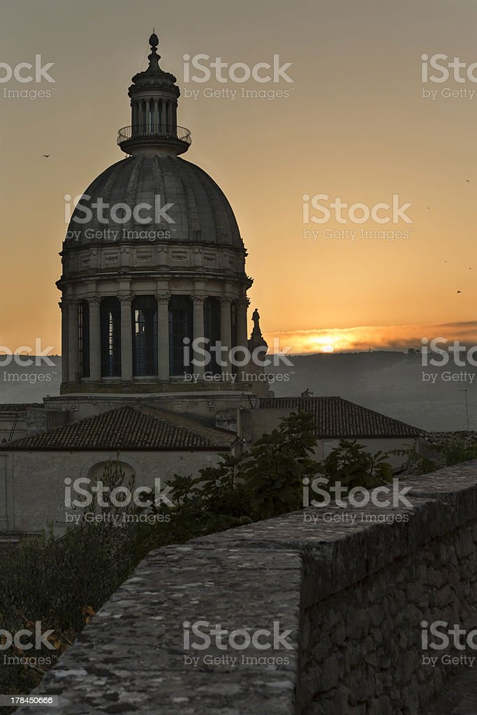 Duomo  cupola in Ragusa Ibla at sunrise, Sicily, Italy stock photo