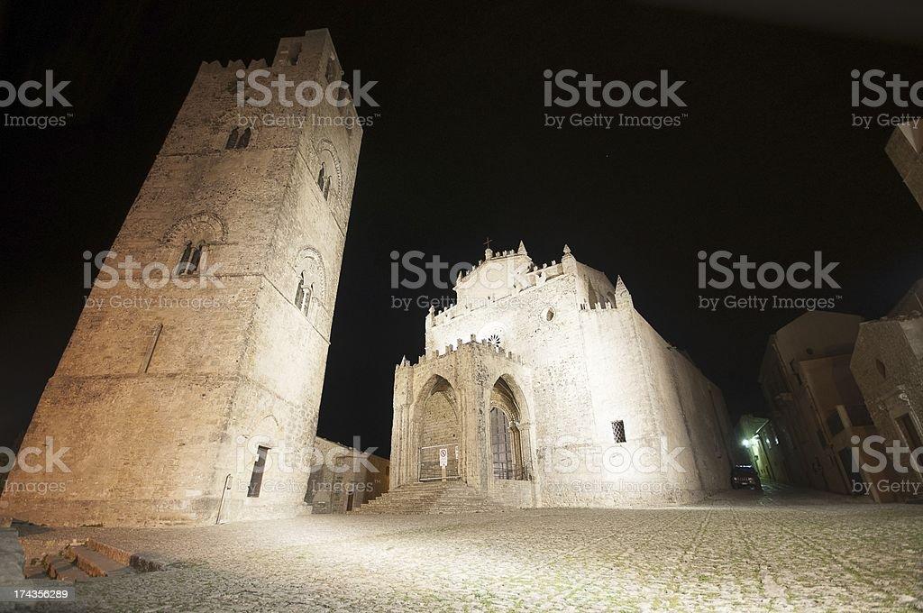 Duomo dell'Assunta, Erice, in Sicily, seen at night stock photo