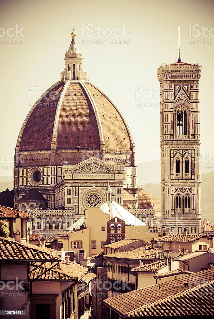 Duomo di Firenze and Giotto's bell tower stock photo
