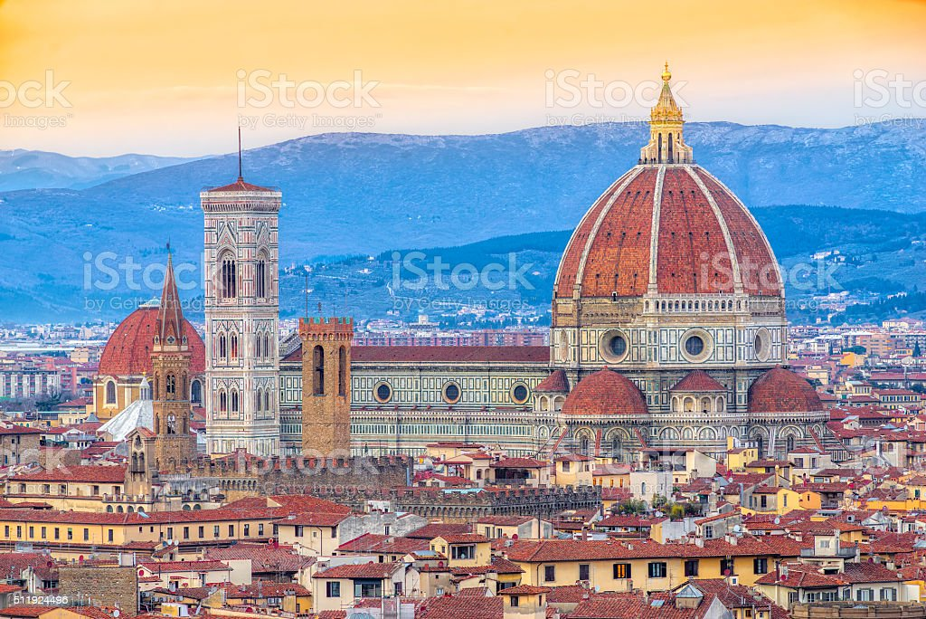 Duomo di Firenze at sunset, Italy. stock photo