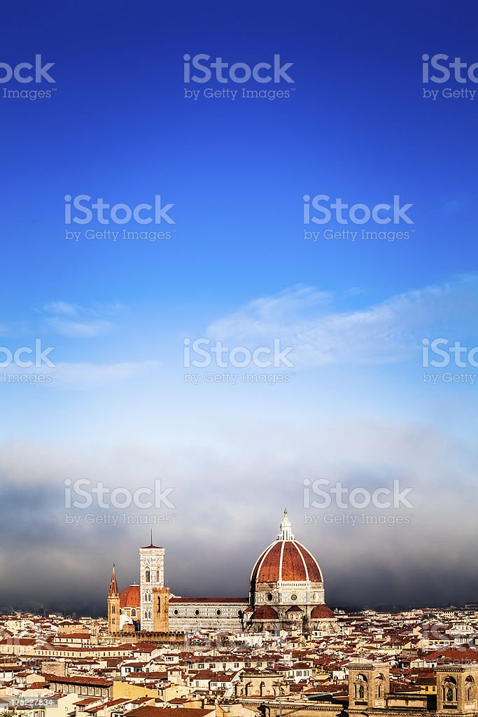 Duomo di Firenze Surrounded by a Wall of Fog royalty-free stock photo
