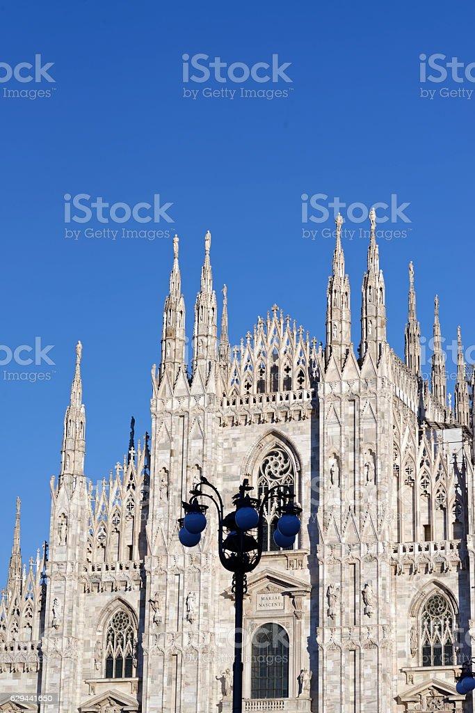 Duomo di Milano against blue sky stock photo