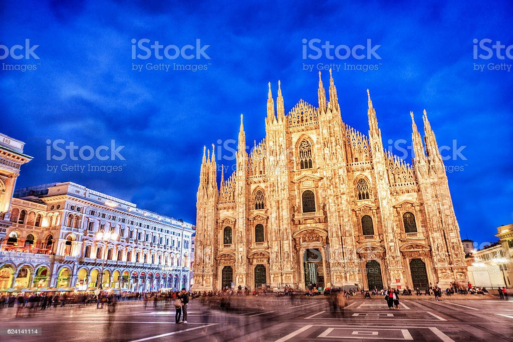 Duomo di Milano and Galleria Vittorio Emanuele at Night, Italy stock photo
