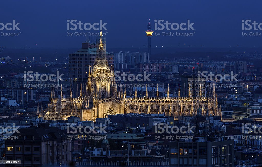 Duomo di Milano at dusk. Milan, Italy. stock photo
