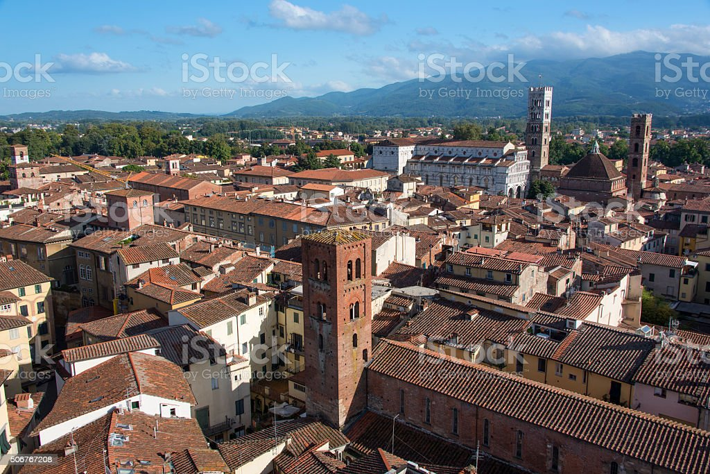 Duomo di San Martino over Lucca.s rooftops stock photo