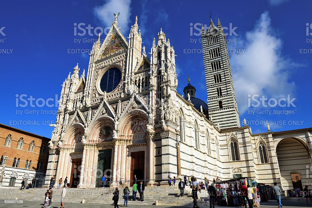 Duomo di Siena, Facade, Bell Tower and Tourists stock photo