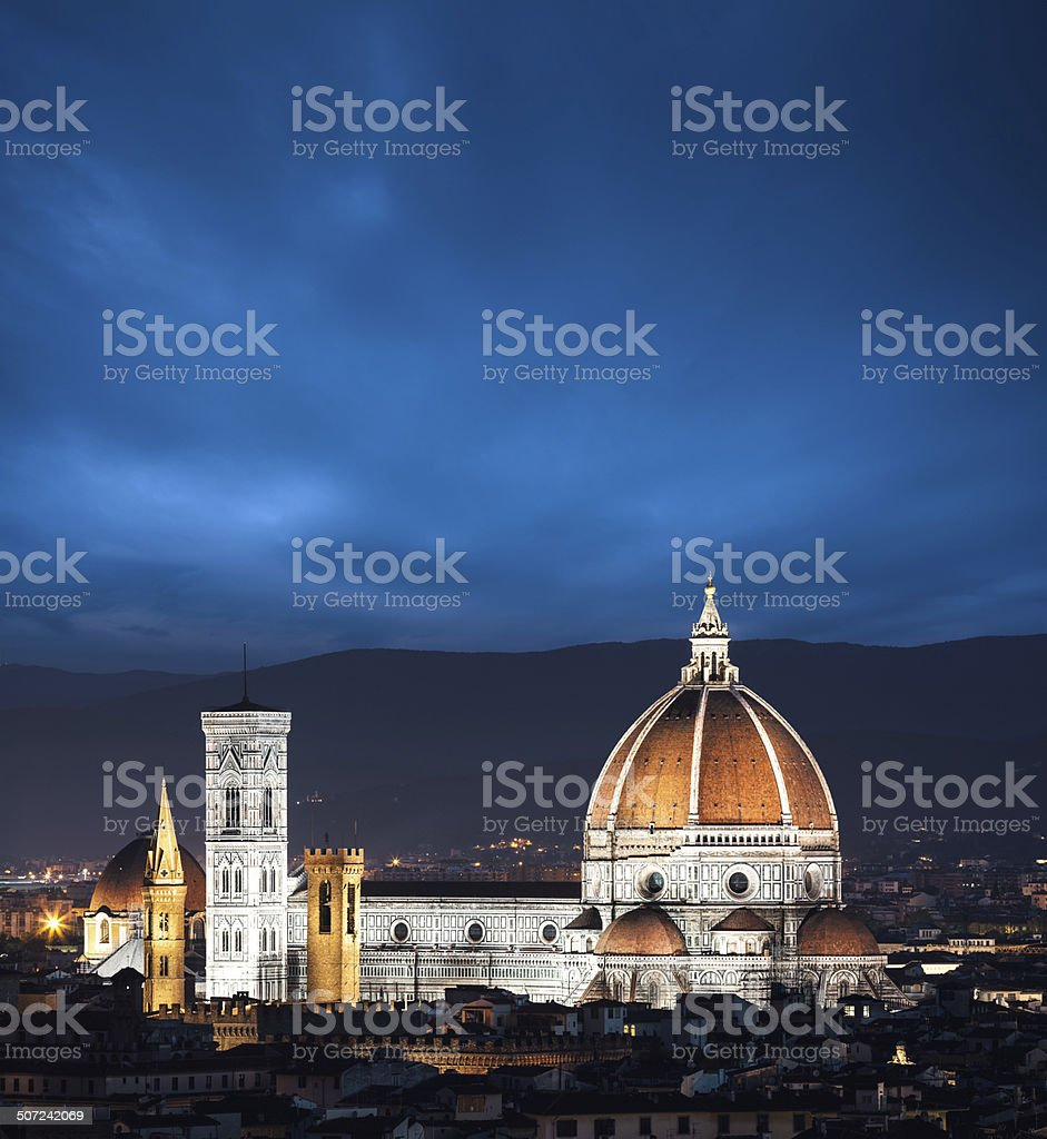 Duomo In Florence At Night royalty-free stock photo