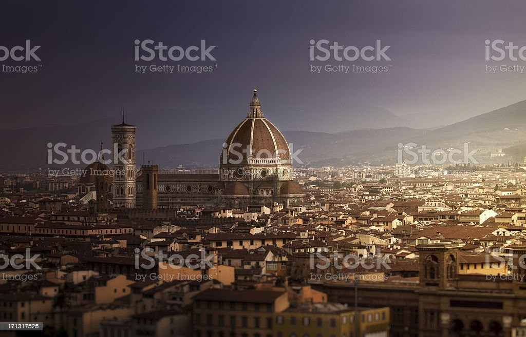 Duomo in Florence at sunrise stock photo