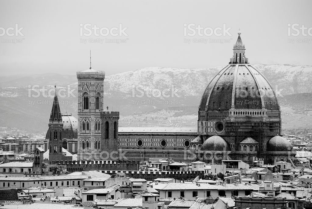 Duomo of Florence black and white royalty-free stock photo