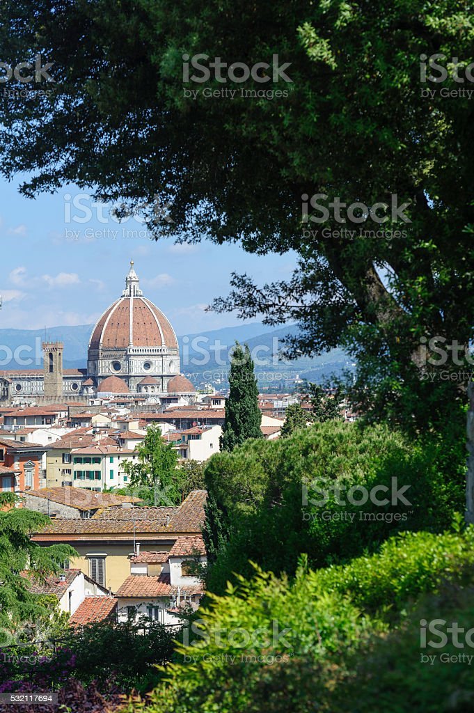duomo of florence from Piazzale Michelangelo on a sunny day stock photo