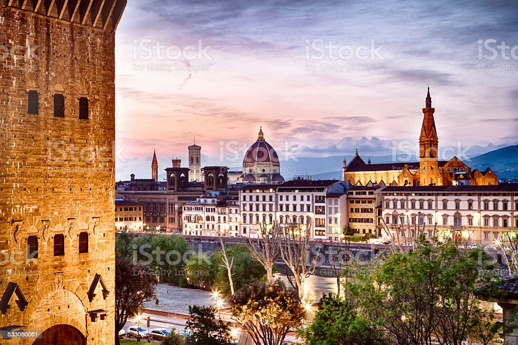 Duomo of Florence from Torre San Niccol? at dusk stock photo