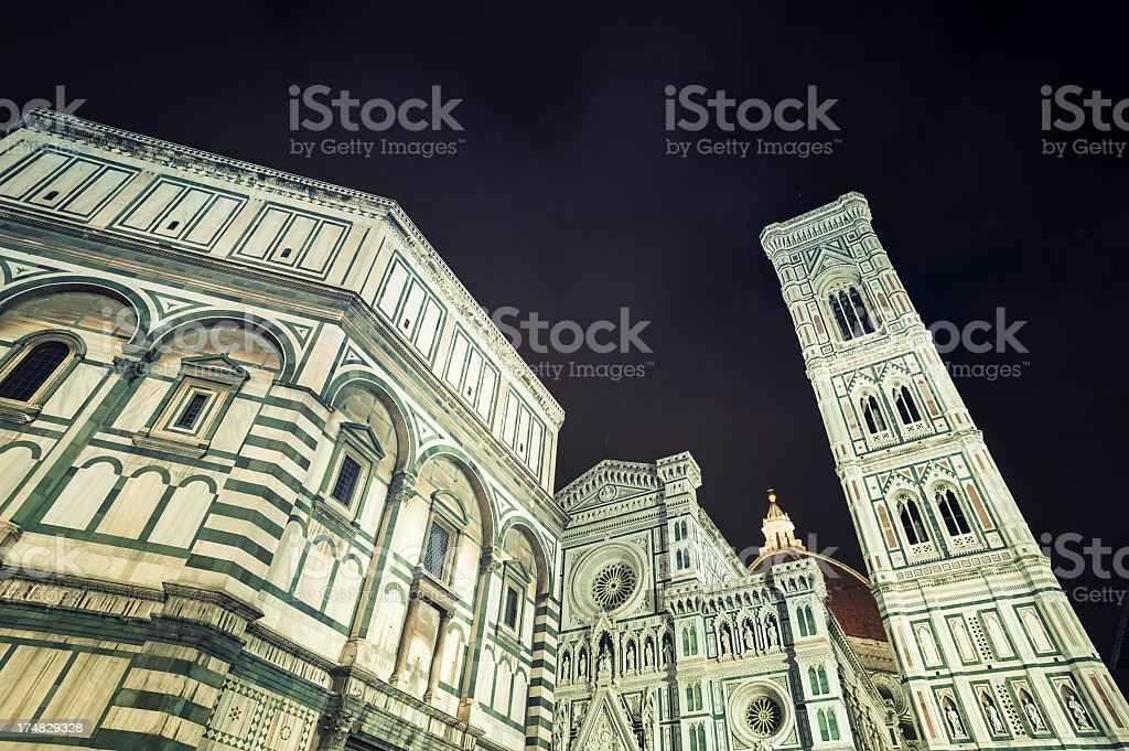 Duomo Santa Maria Del Fiore in Florence by night royalty-free stock photo