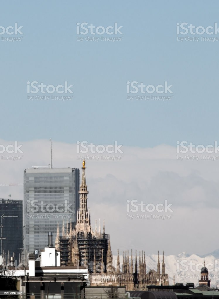 Duomo skyline in the distance stock photo