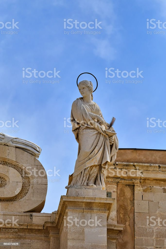 Duomo Syracuse, close-up of front statue stock photo