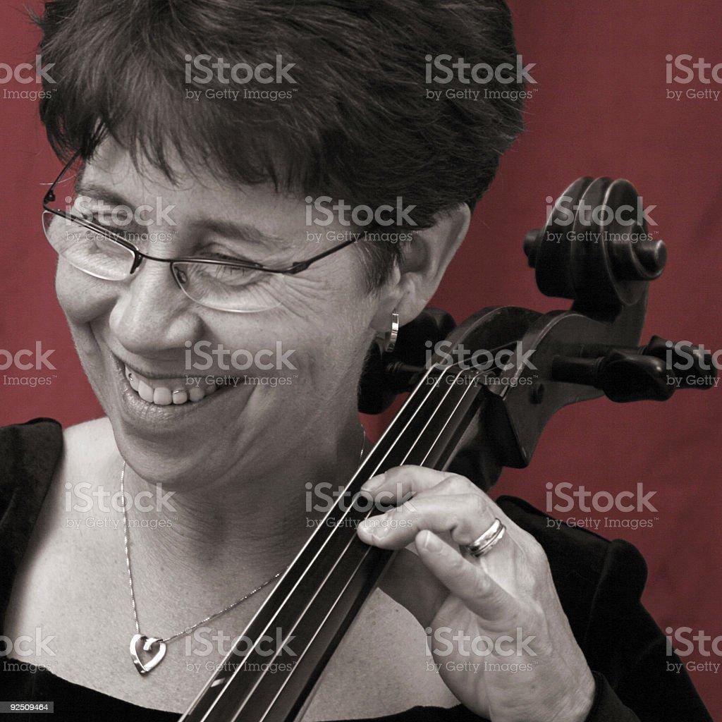 DuoTone Cellist royalty-free stock photo