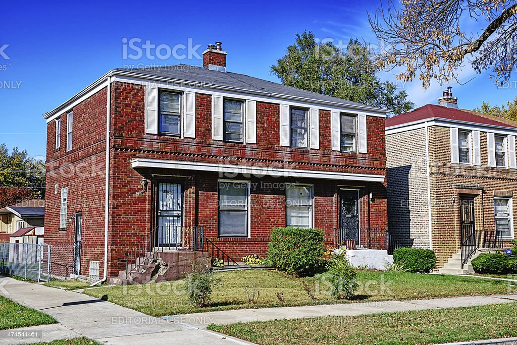 Duplex homes in Calumet Heights, Chicago stock photo