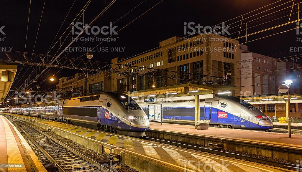 SNCF TGV Duplex trains at Lyon Part-Dieu railway station stock photo
