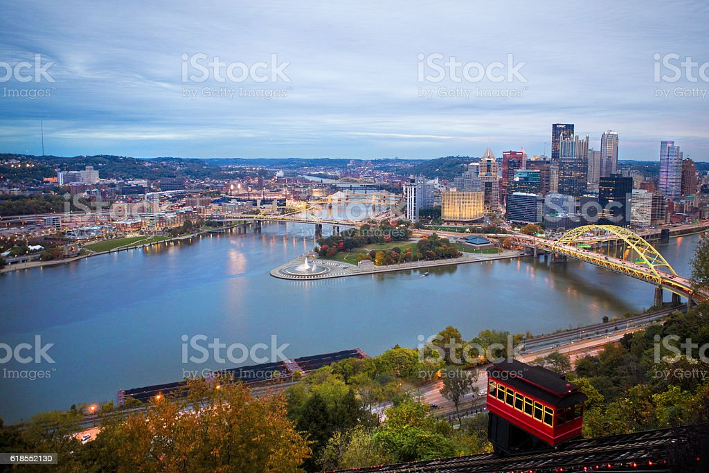 Duquesne Incline Downtown Pittsburgh Fall Evening stock photo