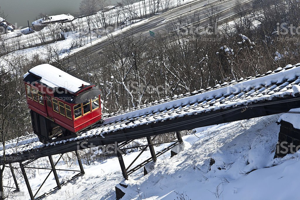 Duquesne Incline Going Uphill In The Winter stock photo