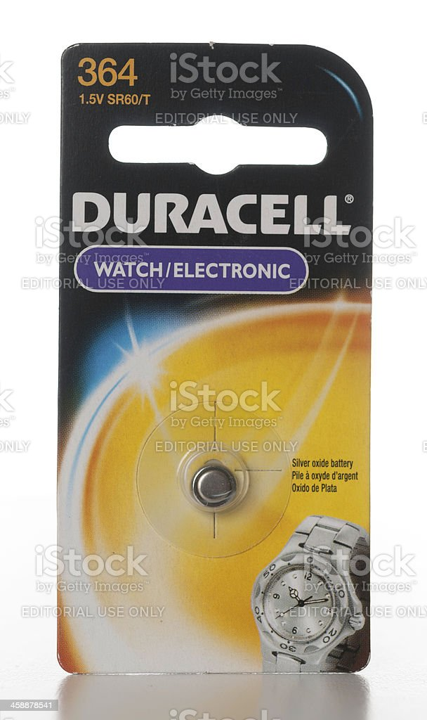 Duracell 364 watch electronic silver oxide battery stock photo