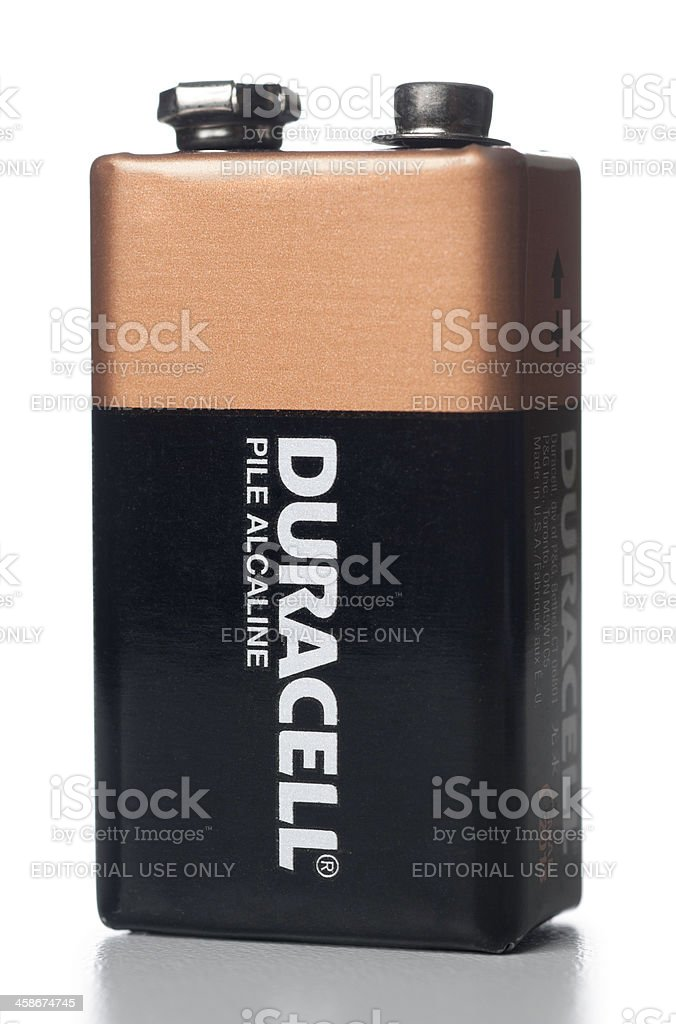Duracell 9 Volt alkaline battery stock photo