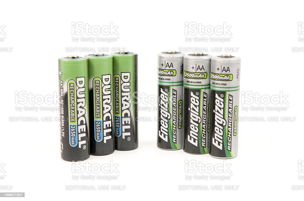 Duracell Vs. Energizer AA Rechargeable Batteries stock photo