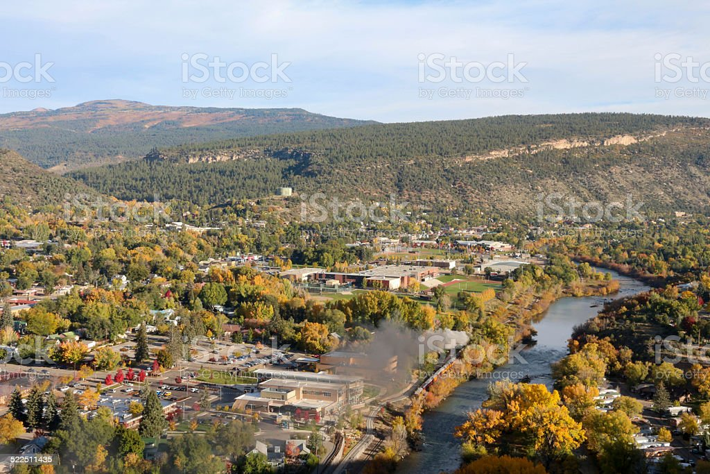 Durango, CO with the train next to the river stock photo