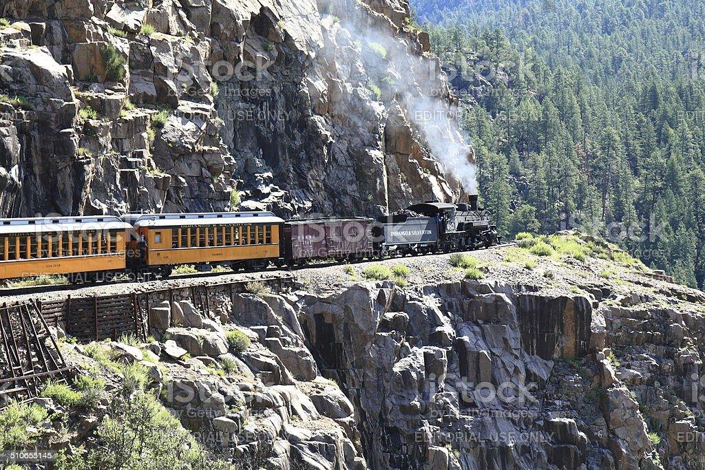 Durango & Silverton Railroad in the Animas River Gorge stock photo