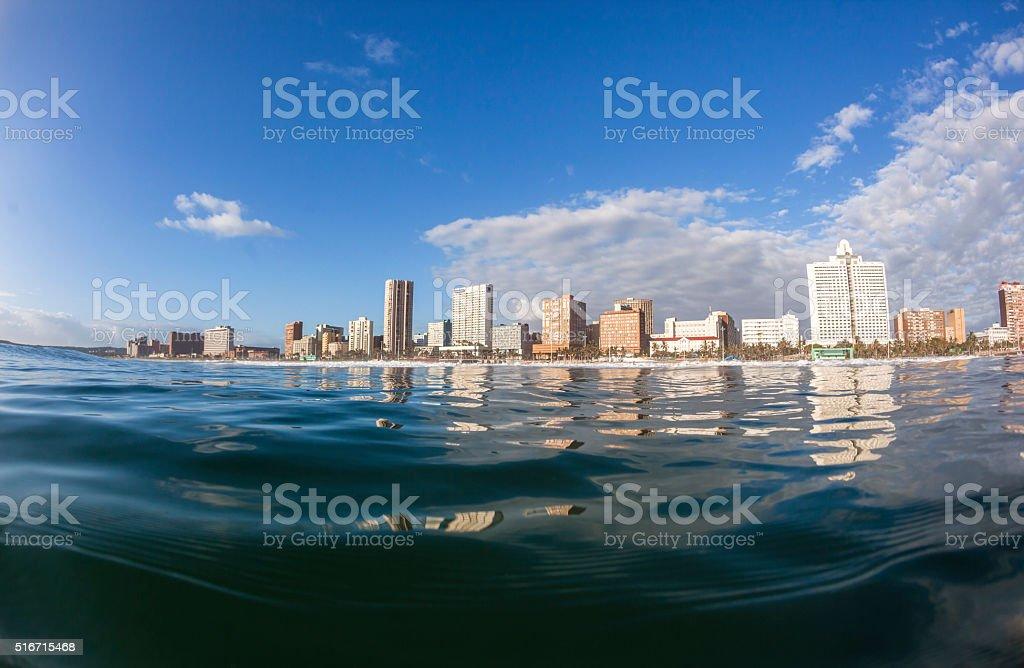 Durban Beachfront Ocean Water Landscape stock photo