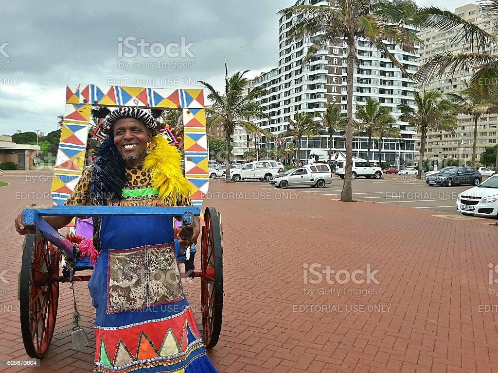 Durban Beachfront Rickshaw stock photo