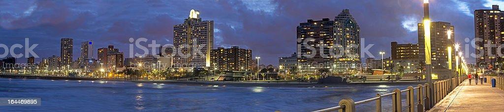 Durban city evening panorama stock photo