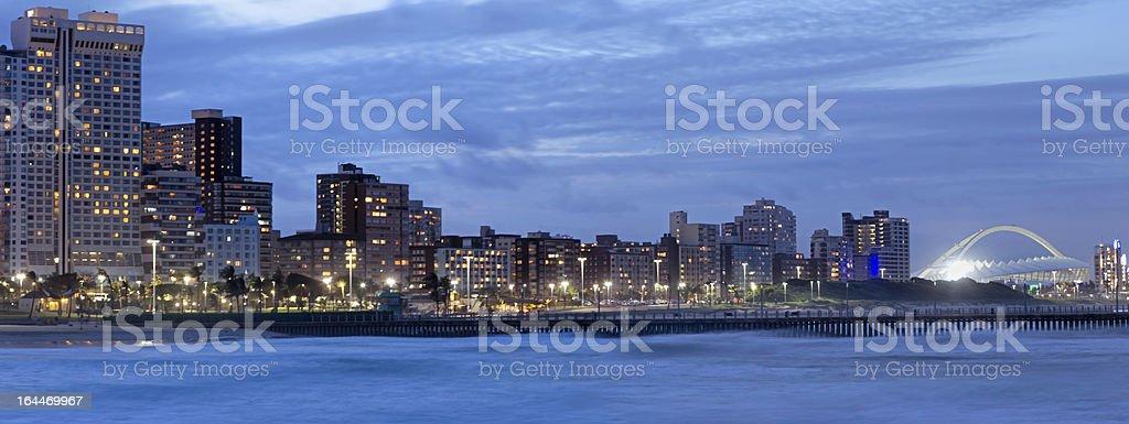 Durban City Evening with Stadium stock photo