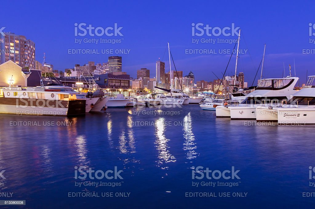 Durban cityscape from the waterfront stock photo