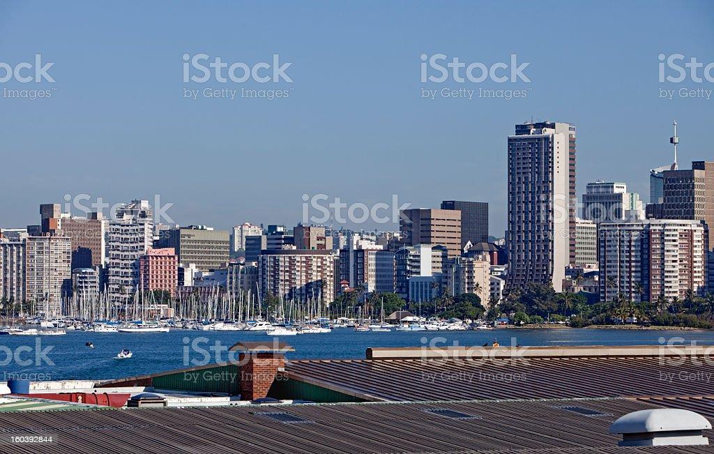 Durban Cityscape with Yacht Club stock photo