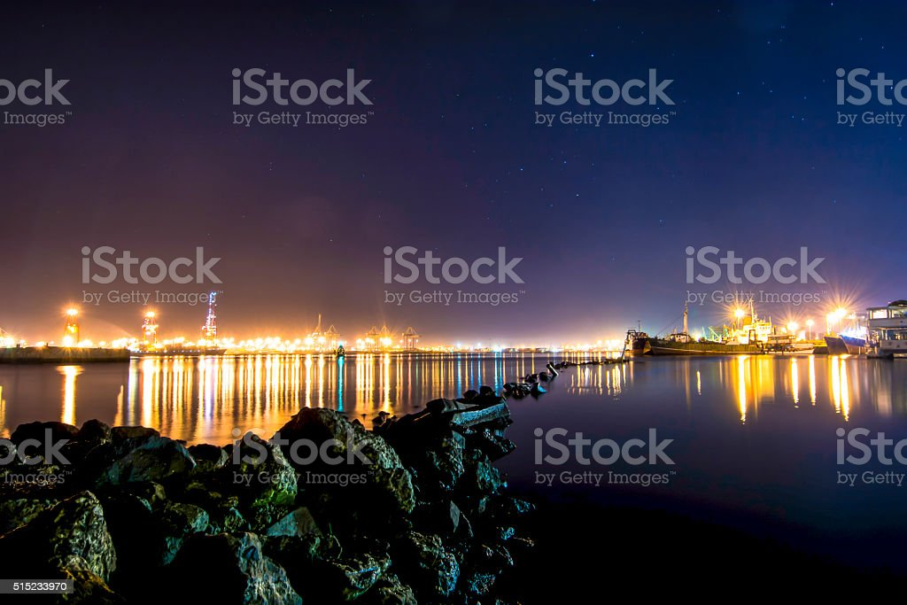 Durban Harbour in night lights stock photo
