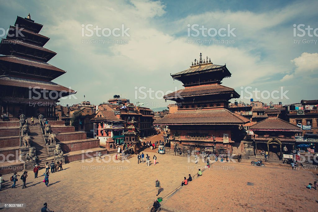 Durban Square in the center of Bhaktapur stock photo