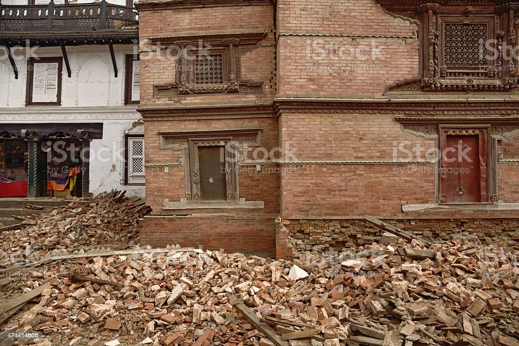 Durbar Square which was severly damaged after the major earthquake stock photo